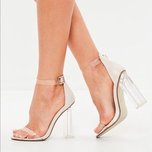 MISSGUIDED — NUDE/CLEAR BLOCK HEELS